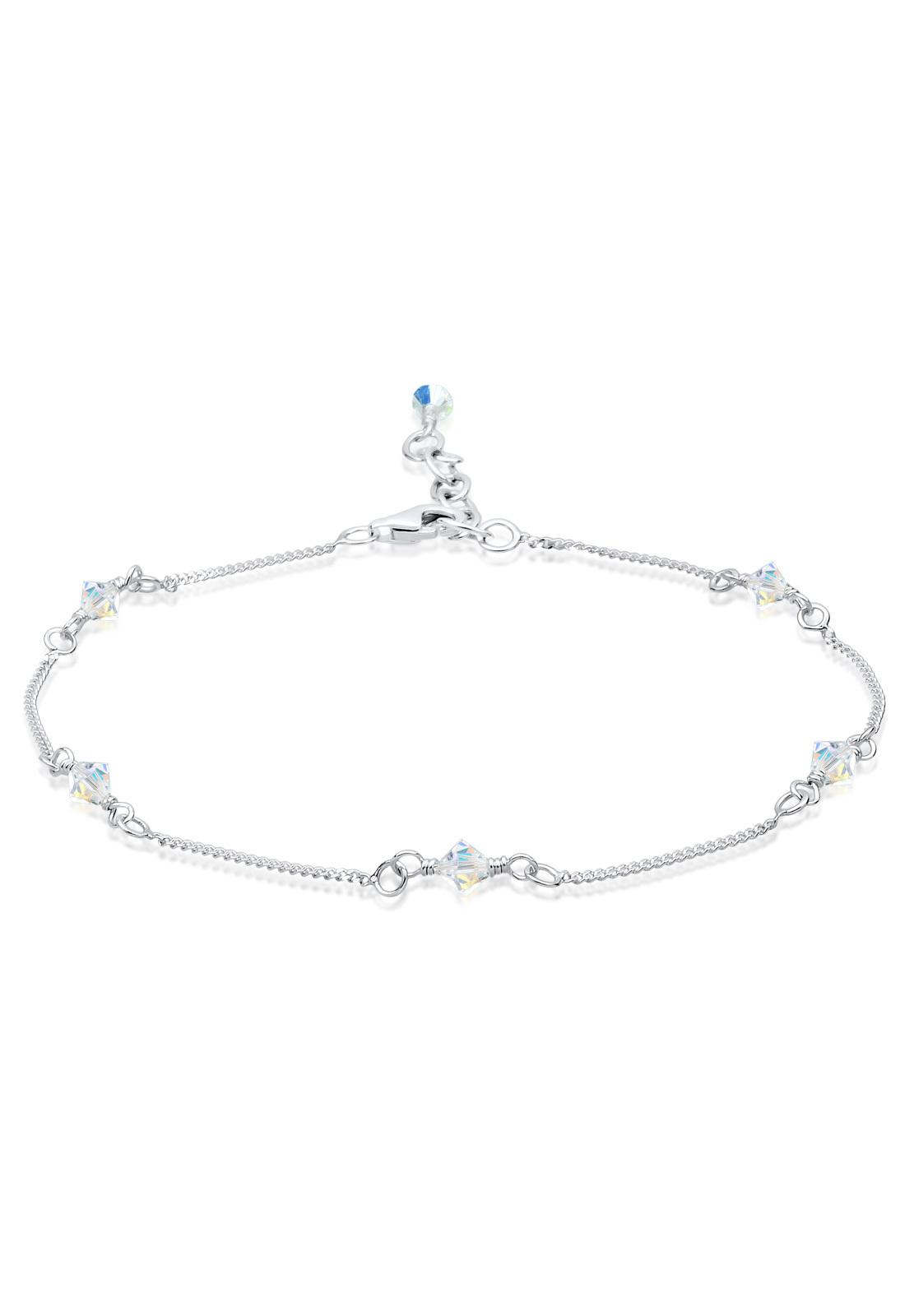 Fußkettchen | Kristall ( Weiß ) | 925er Sterling Silber