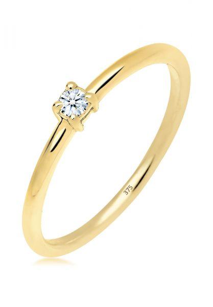 Verlobungsring   Diamant ( Weiß, 0,06 ct )   375 Gelbgold