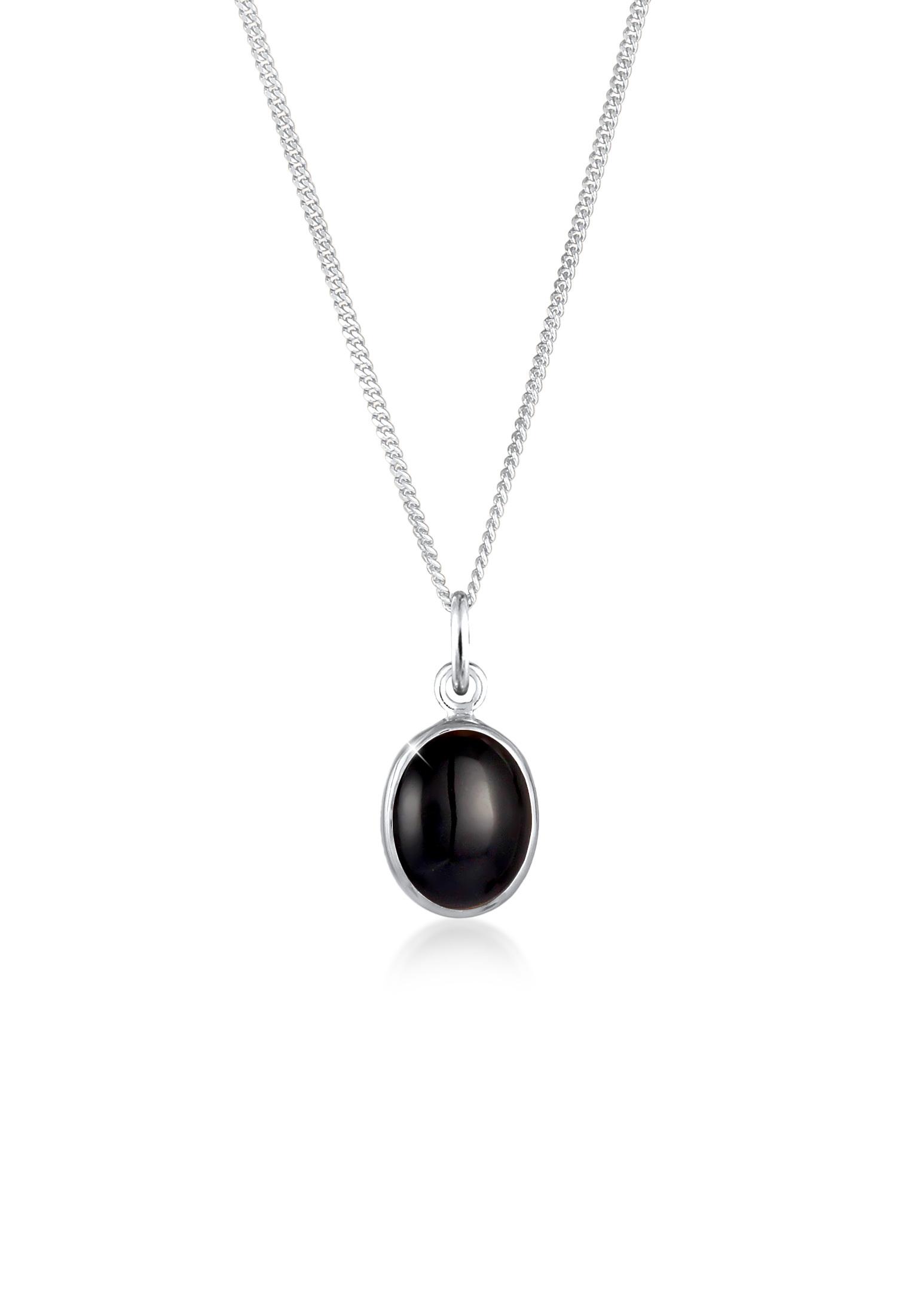 Halskette   Onyx ( Schwarz )   925er Sterling Silber