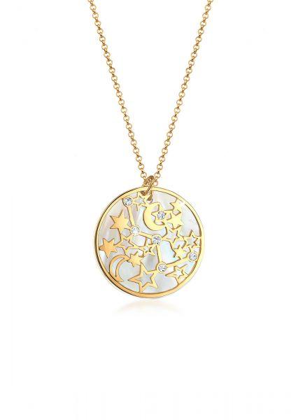 Halskette Astro | Kristall ( Weiß ) | 925 Sterling Silber vergoldet