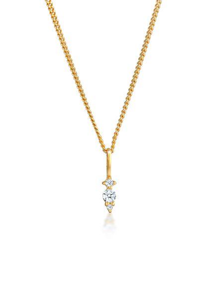 Elli DIAMONDS Halskette Diamant (0.05 ct.) Brilliant Klassik 585 Gelbgold
