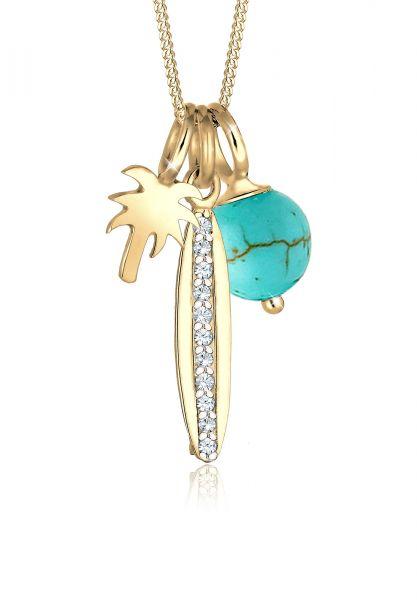 Elli Halskette Palme Surfbrett Kristalle 925 Silber