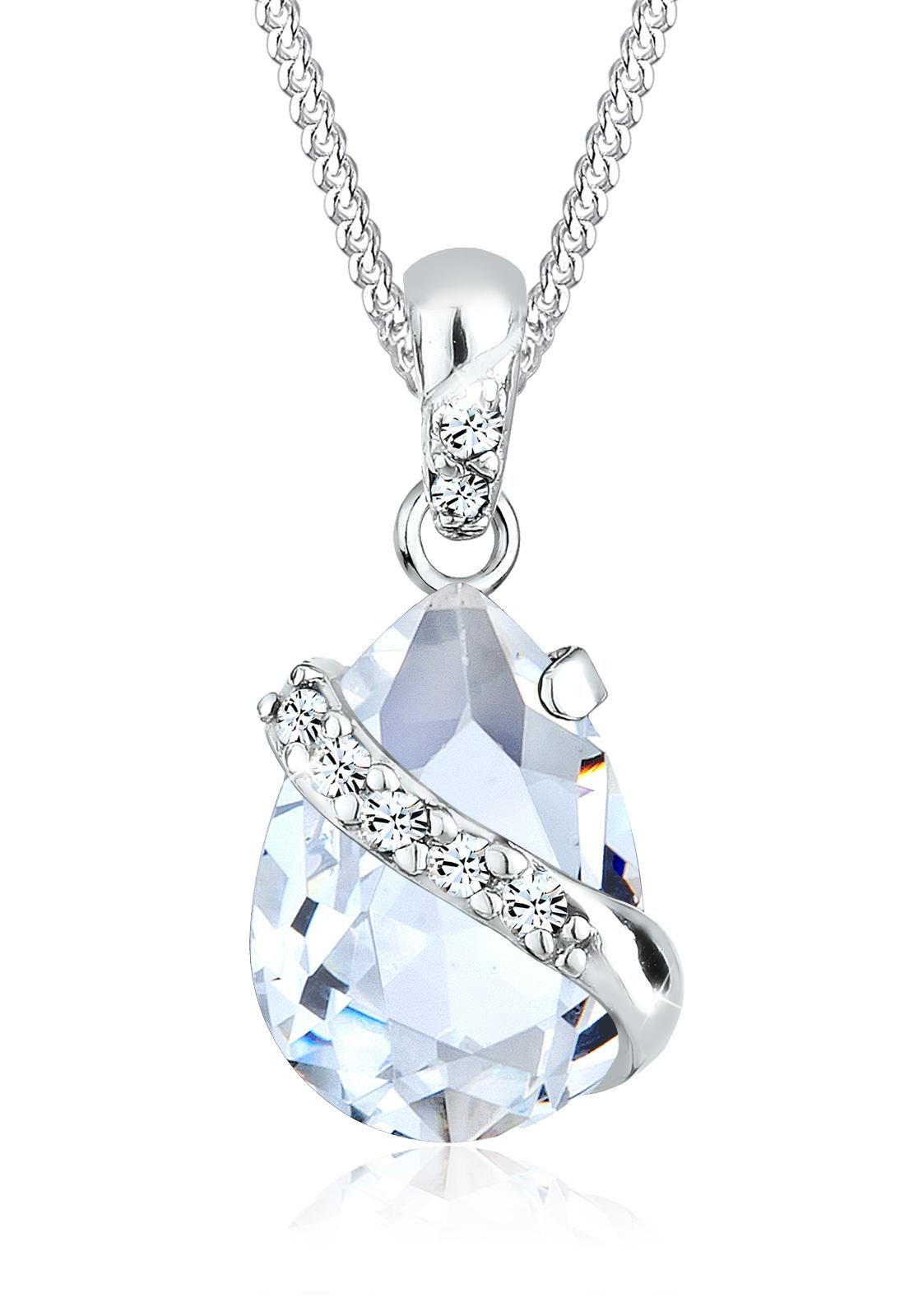 Halskette Tropfen   Kristall ( Weiß )   925er Sterling Silber