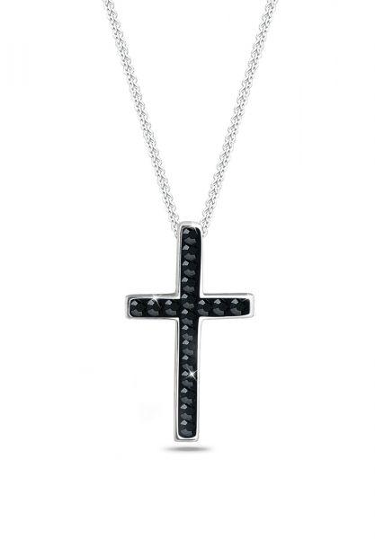 Halskette Kreuz | Kristall ( Schwarz ) | 925er Sterling Silber