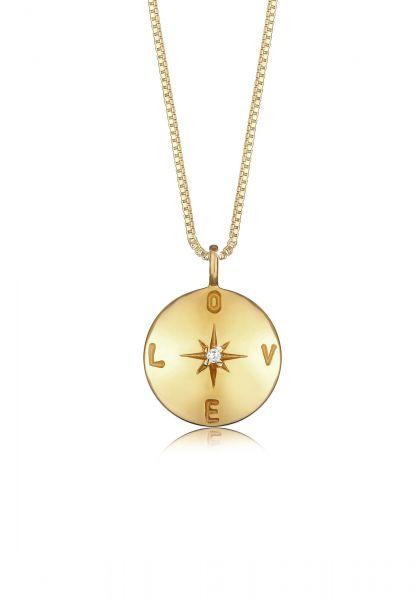 Venezianer-Halskette Love   Zirkonia ( Weiß )   925 Sterling Silber vergoldet