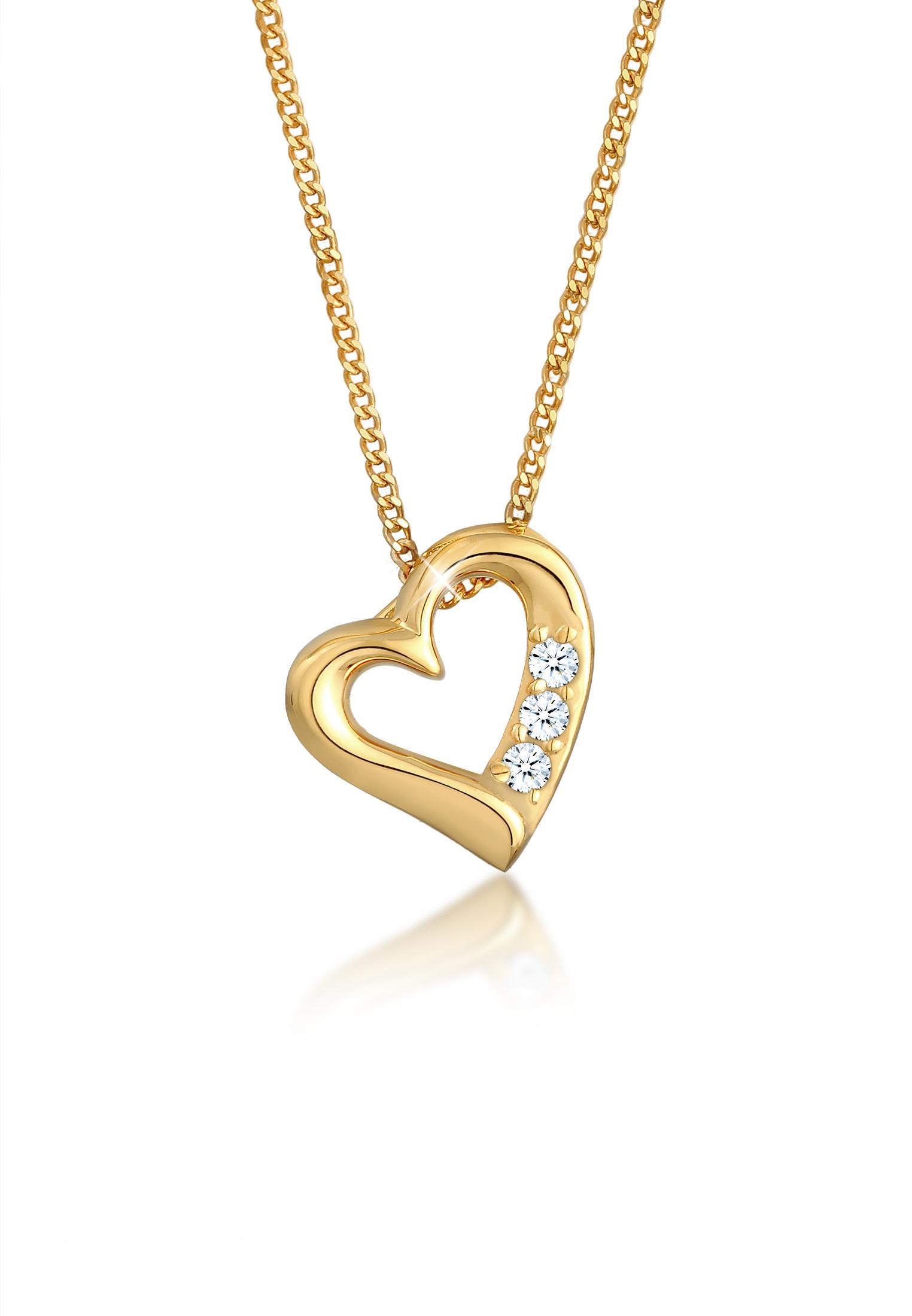 Halskette Herz   Diamant ( Weiß, 0,045 ct )   585 Gelbgold