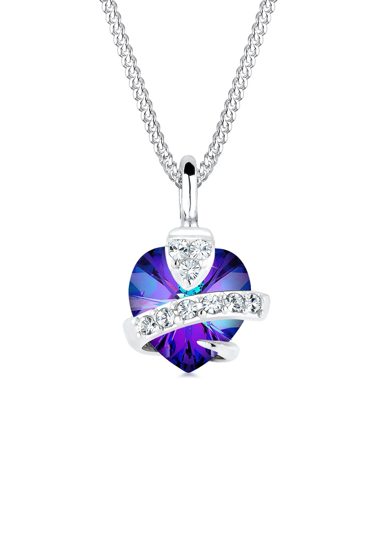 Halskette Herz | Kristall ( Blau ) | 925er Sterling Silber