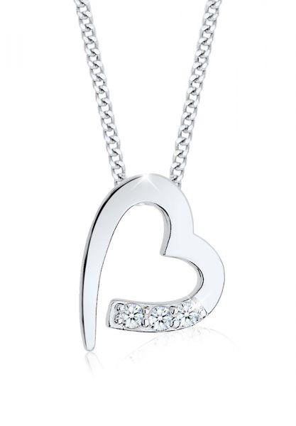 DIAMORE Halskette Herz Klassisch Diamant (0.04 ct.) 925 Silber