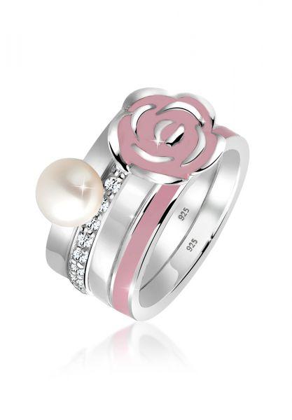 Elli Ring Rose Perle Ringset Swarovski® Kristalle 925 Silber