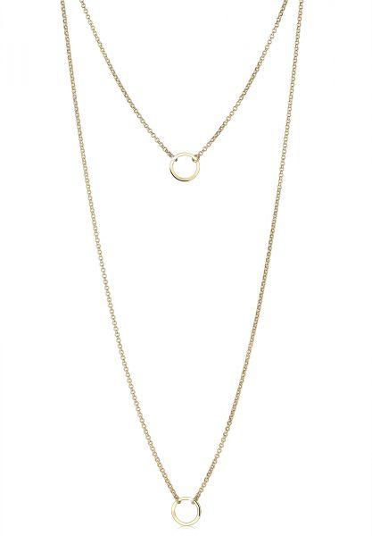 Elli Halskette Layering Doppelkette Kreis 925 Sterling Silber