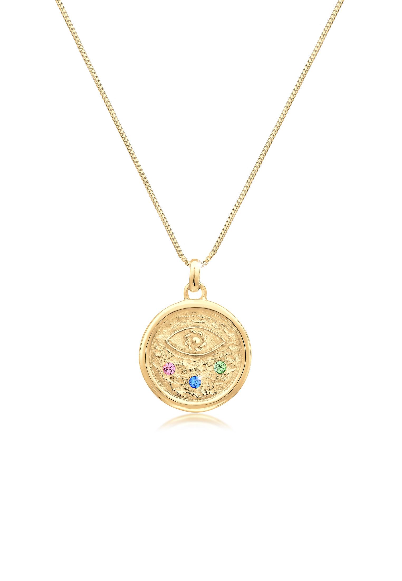 Venezianer-Halskette Evil Eye   Kristall ( Rosa )   925 Sterling Silber vergoldet