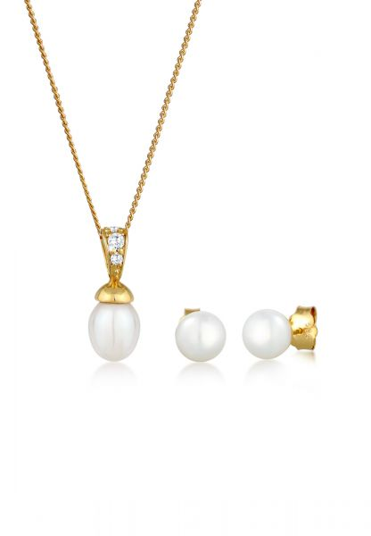 Elli PREMIUM Schmuckset Perlen Zirkonia 585 Gelbgold
