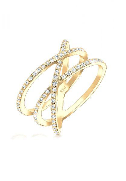 Elli Ring 925 Sterling Silber Zirkonia Wickelring