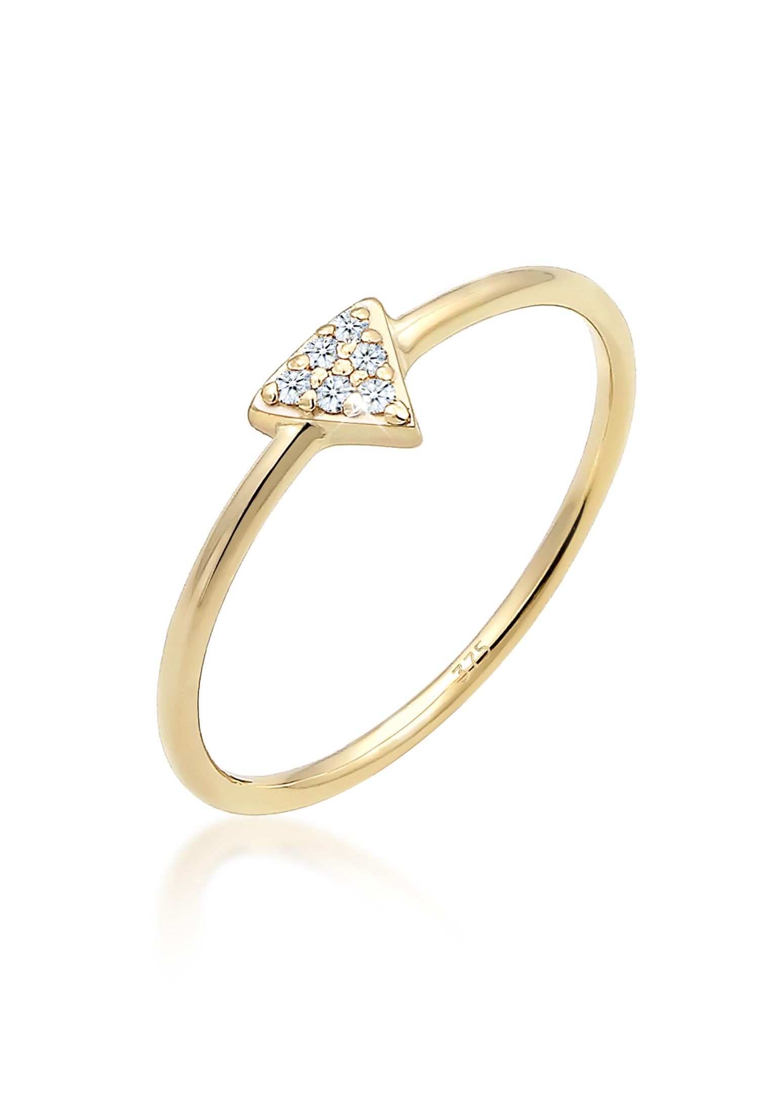 Verlobungsring Dreieck   Diamant ( Weiß, 0,03 ct )   375 Gelbgold