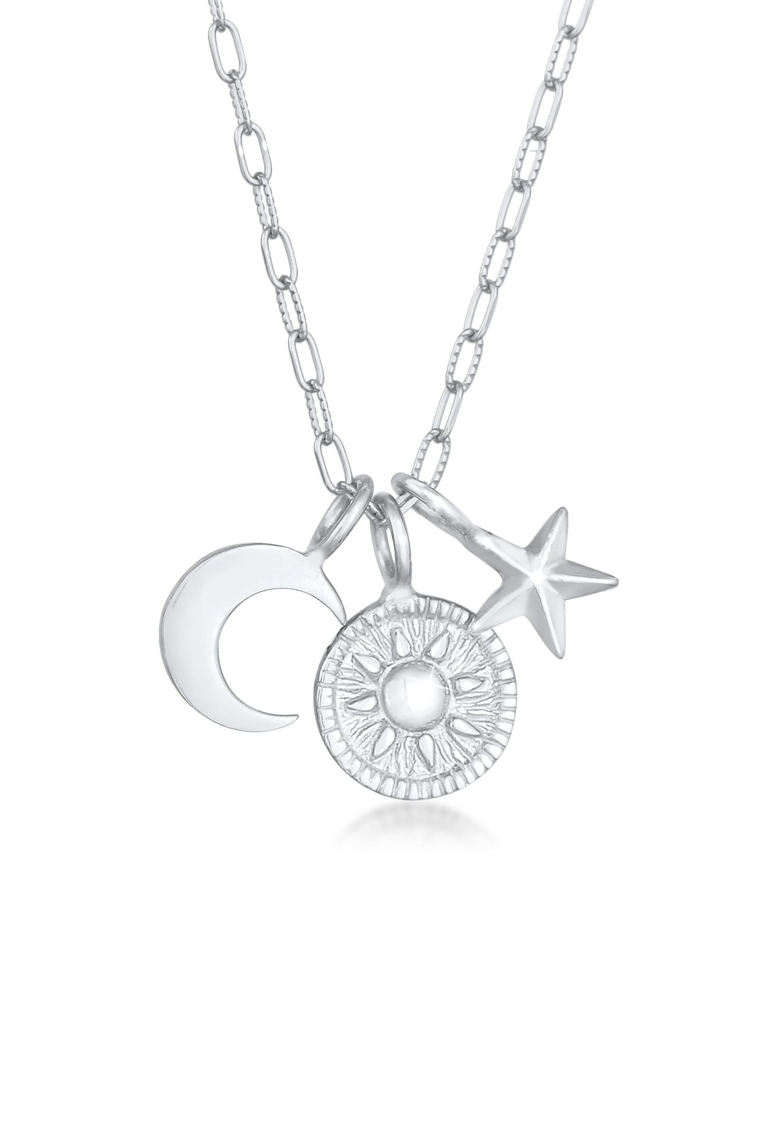 Halskette Sonne Mond Stern | 925er Sterling Silber
