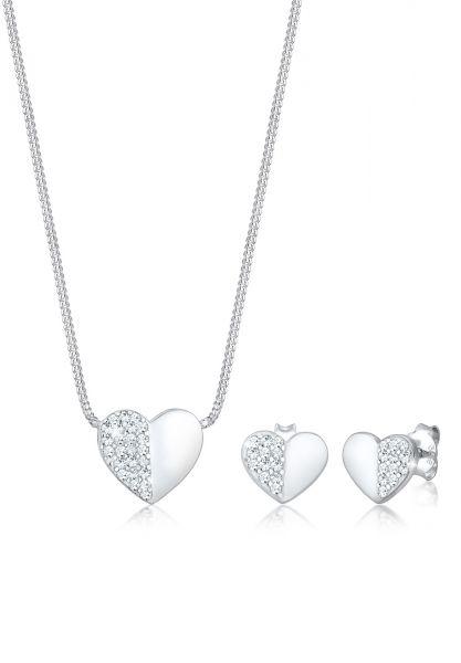 Schmuckset Herz | Kristall ( Weiß ) | 925er Sterling Silber