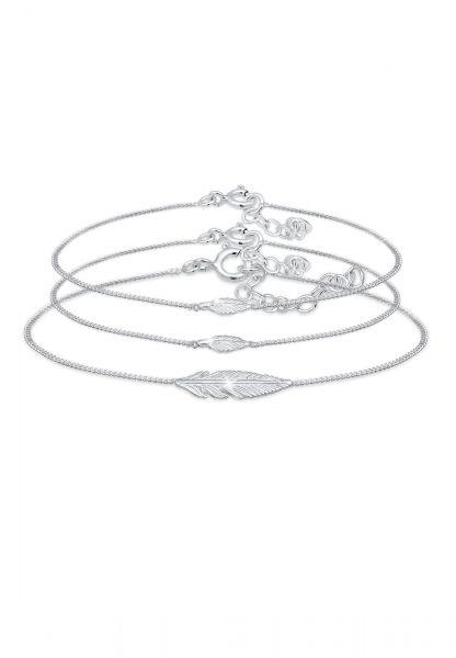 Elli Armband Feder Mutter Kind Panzerkette 3 teilig 925 Silber