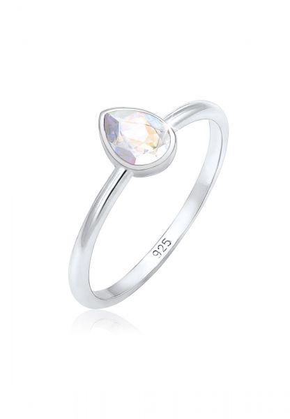 Verlobungsring Tropfen | Kristall ( Weiß ) | 925er Sterling Silber