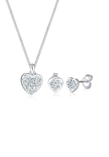 Elli Schmuckset Herz Kristalle 925 Silber Amour