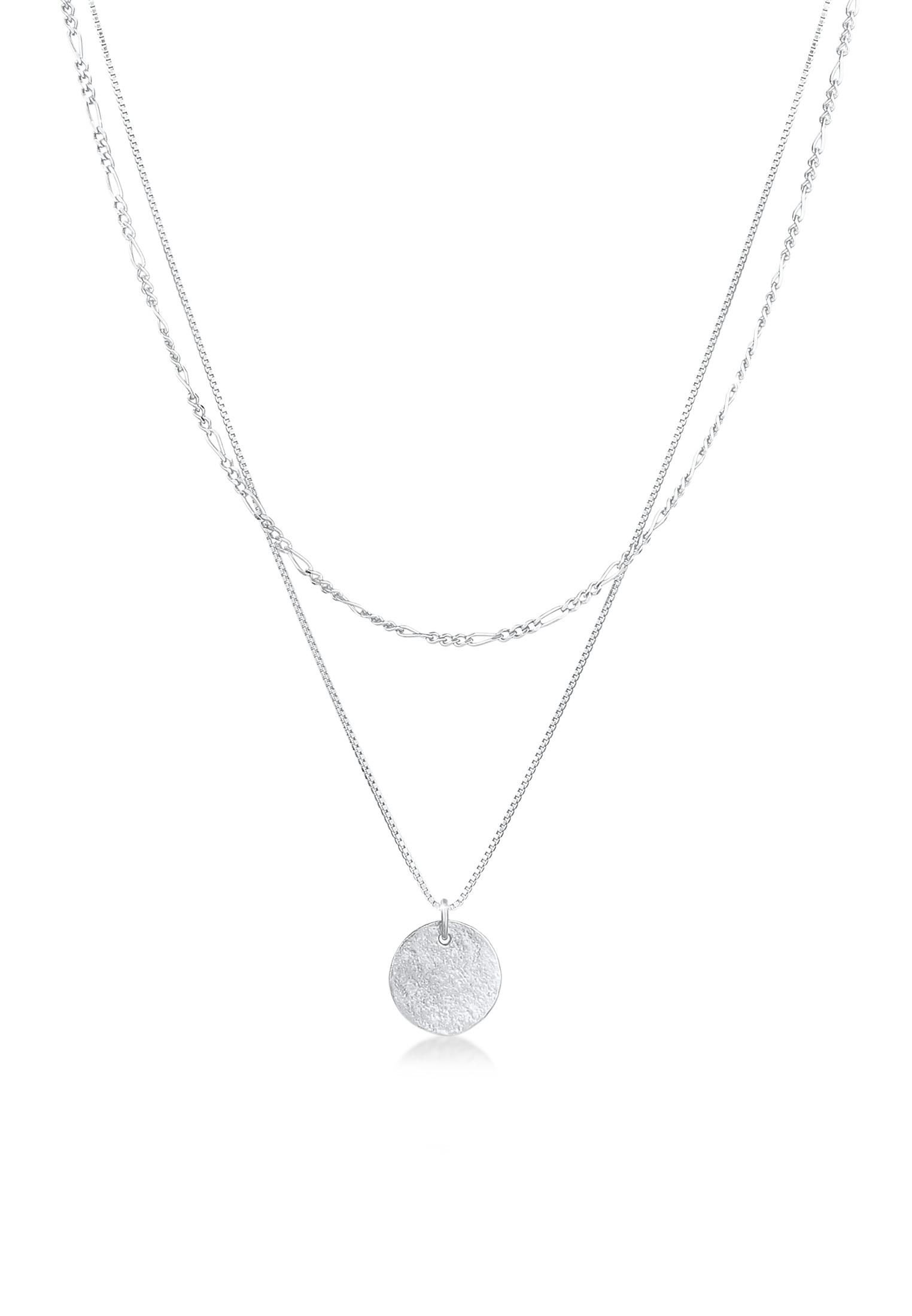 Layer-Halskette Münze Figaro   925 Sterling Silber
