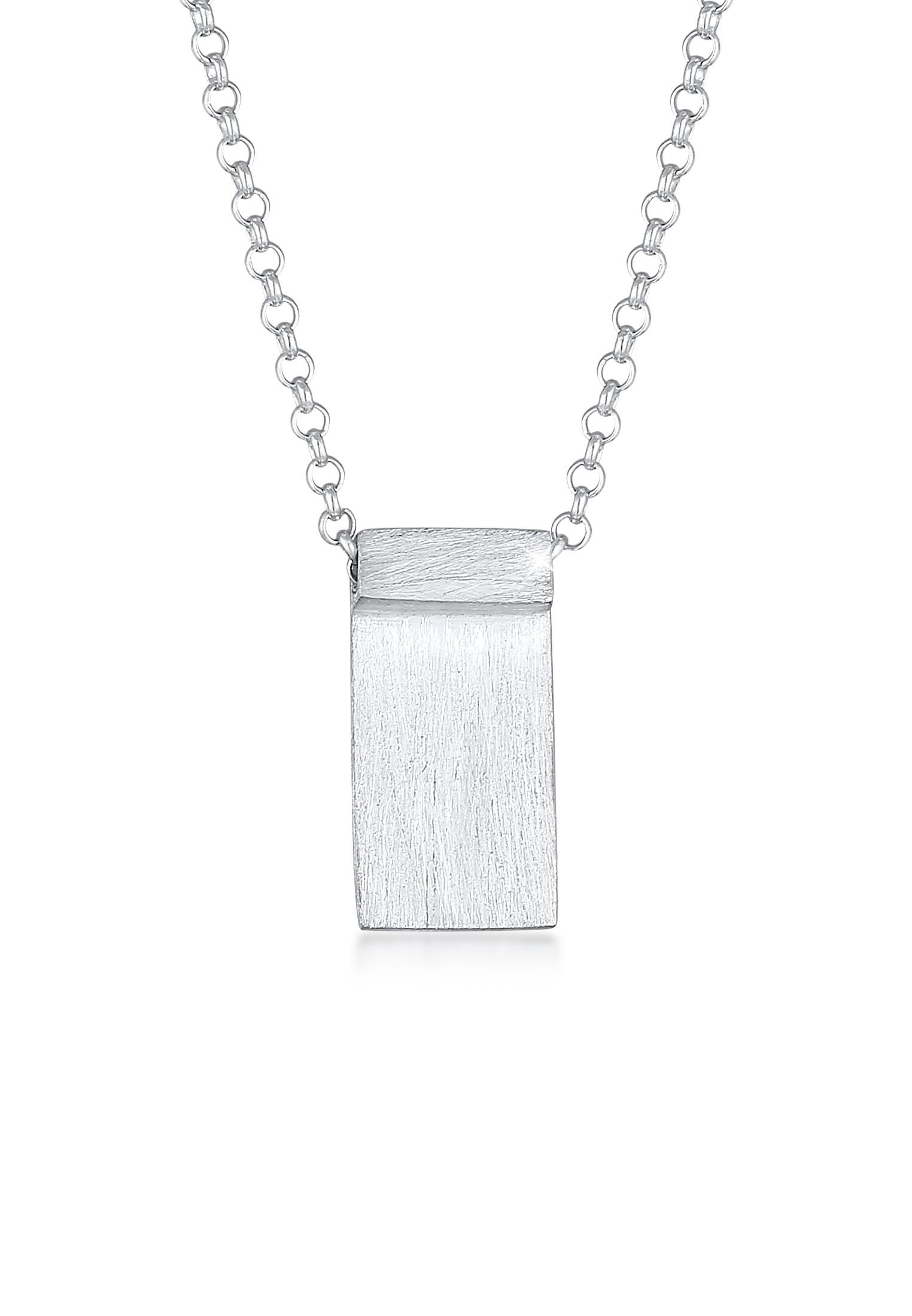 Halskette Rechteck Platte   925er Sterling Silber