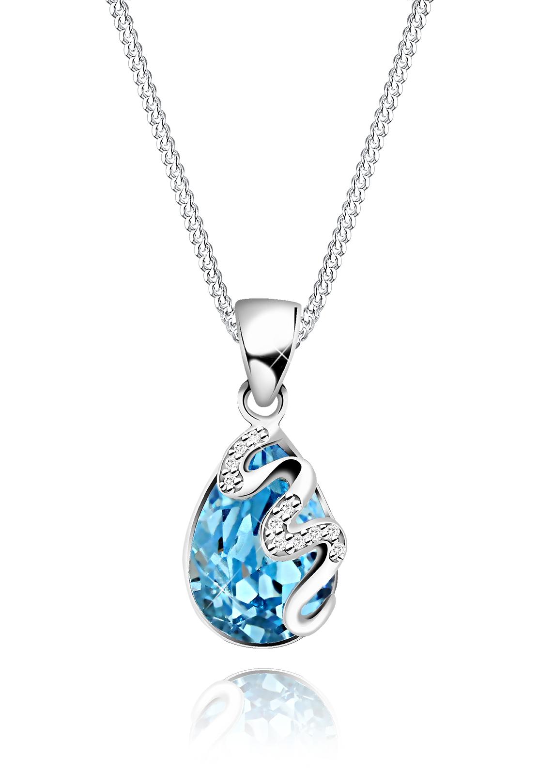 Halskette Tropfen   Kristall ( Hellblau )   925er Sterling Silber