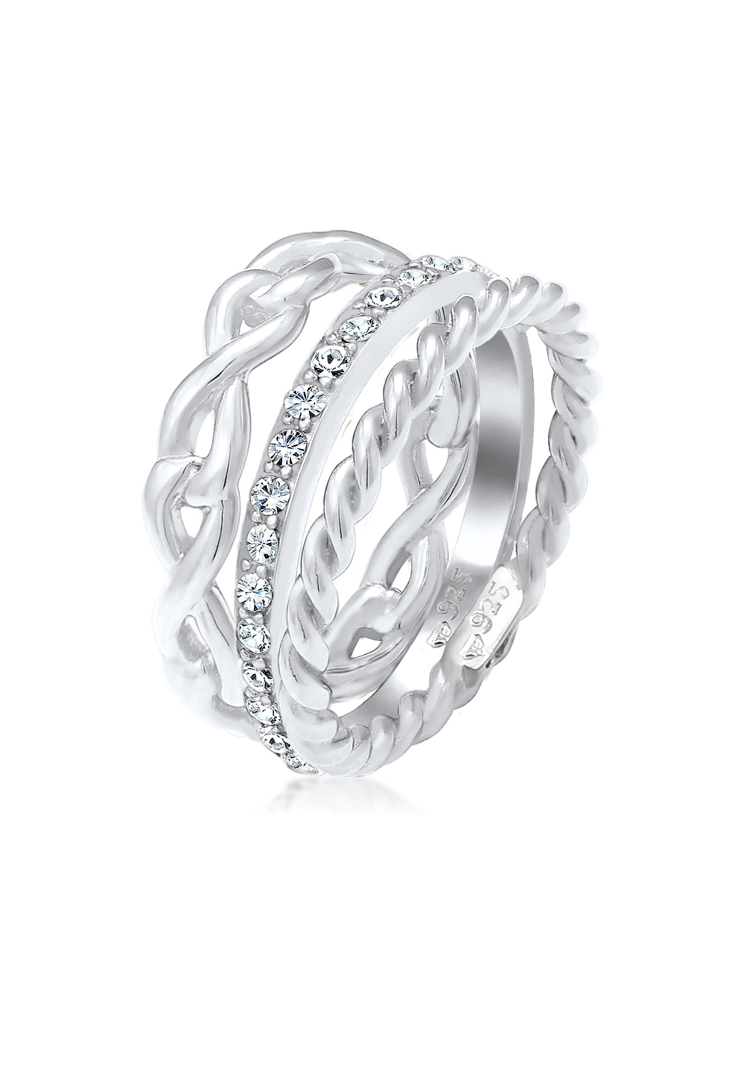 Ringset Infinity | Kristall ( Weiß ) | 925er Sterling Silber