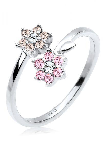 Elli Ring Blume Statement Kristalle 925 Silber