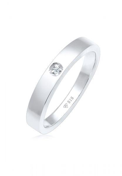 DIAMORE Ring Solitär Bandring Diamant 0.015 ct. 925 Silber