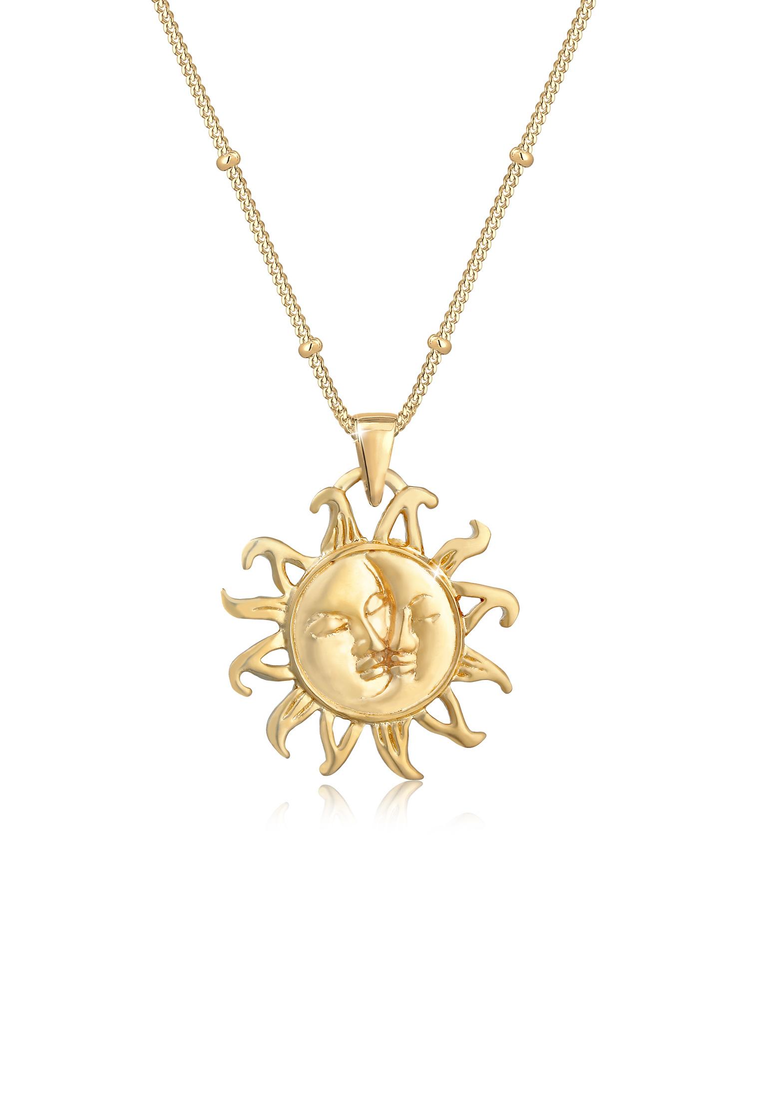 Kugel-Halskette Halbmond   925 Sterling Silber vergoldet