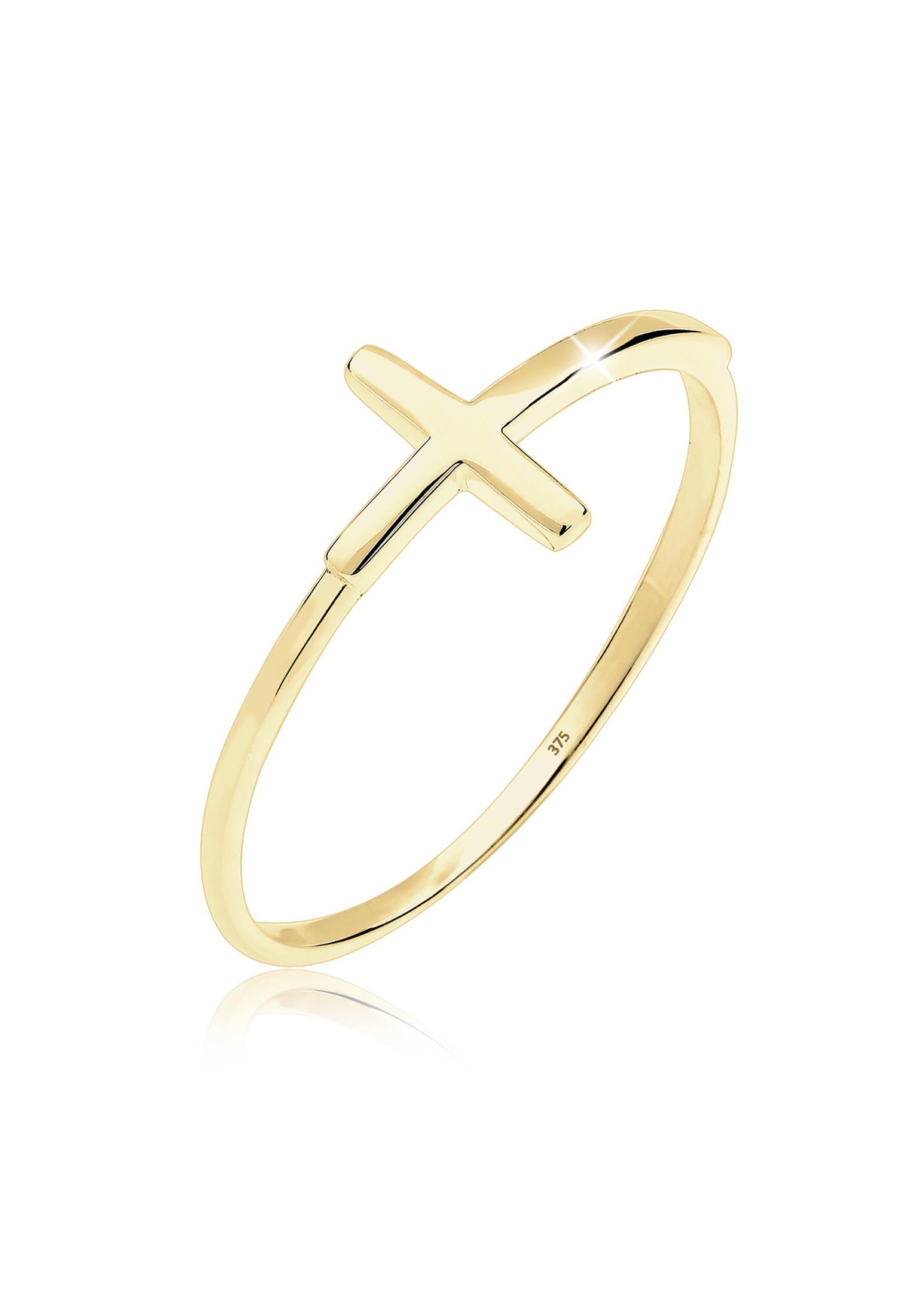 Ring Kreuz   375 Gelbgold