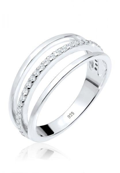 Elli Ring Lagen Zirkonia 925er Sterling Silber