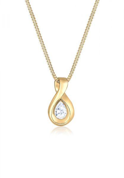 Halskette Infinity   Zirkonia ( Weiß )   585 Gelbgold