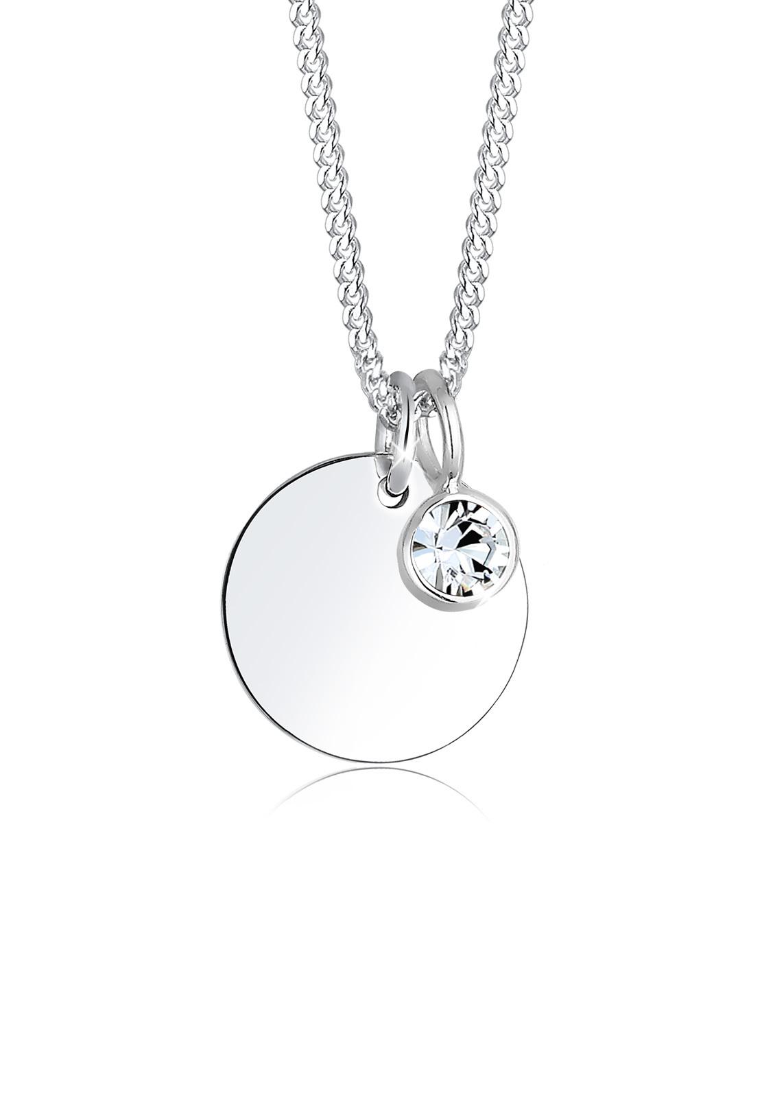 Halskette Geburtsstein | Kristall ( Weiß ) | 925er Sterling Silber