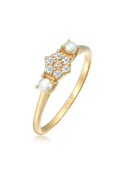 Ring   Süßwasserperle, Diamant ( Weiß, 0,095 ct )   375 Gelbgold
