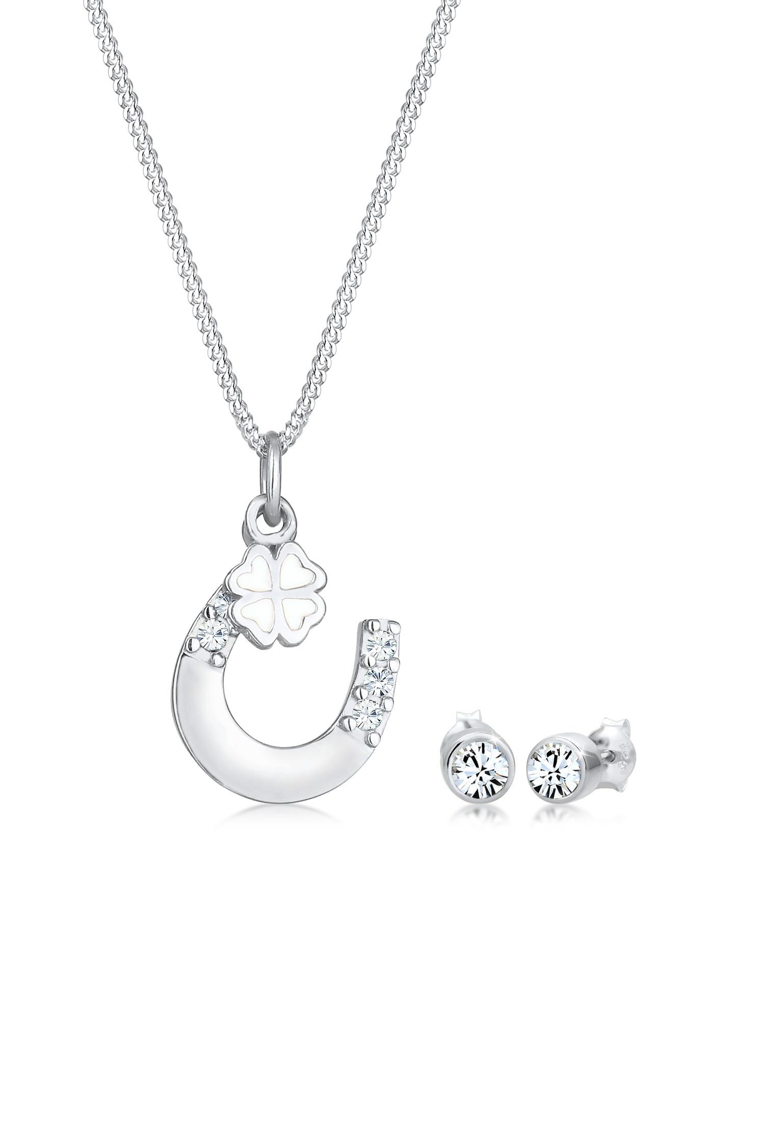 Schmuckset Hufeisen   Kristall ( Weiß )   925er Sterling Silber