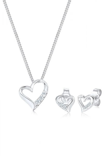 Schmuckset Herz   Diamant ( Weiß, 0,075 ct )   925er Sterling Silber