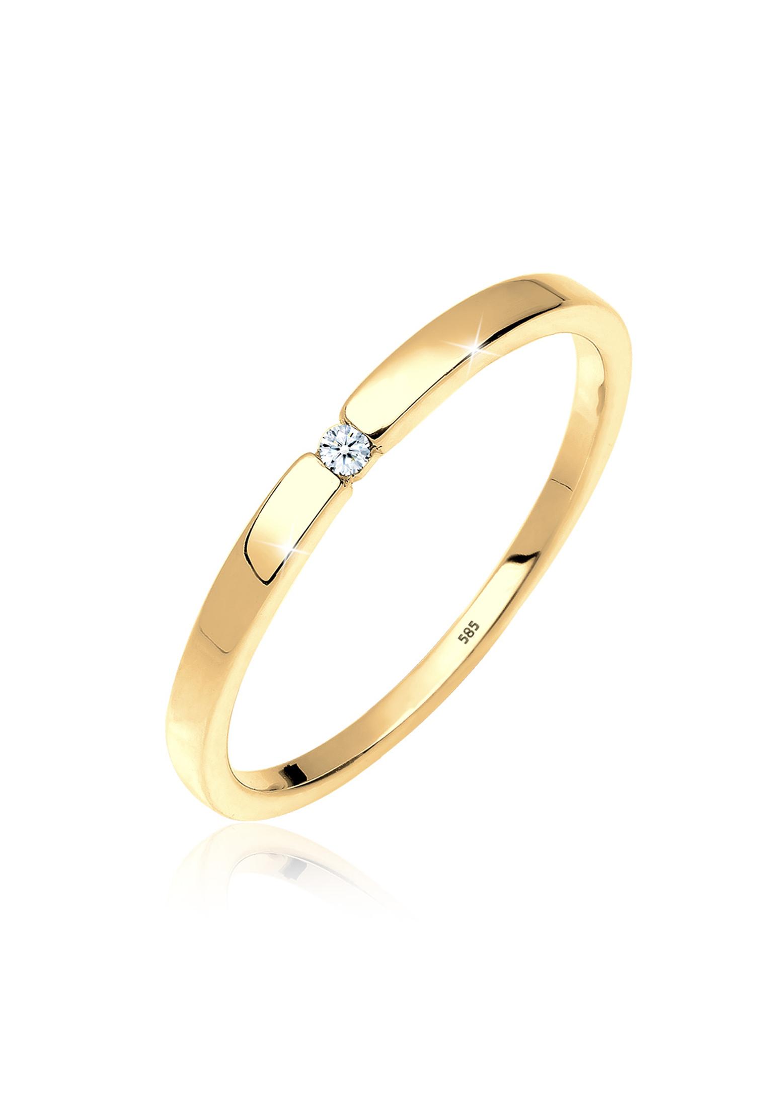 Verlobungsring | Diamant ( Weiß, 0,015 ct ) | 585 Gelbgold