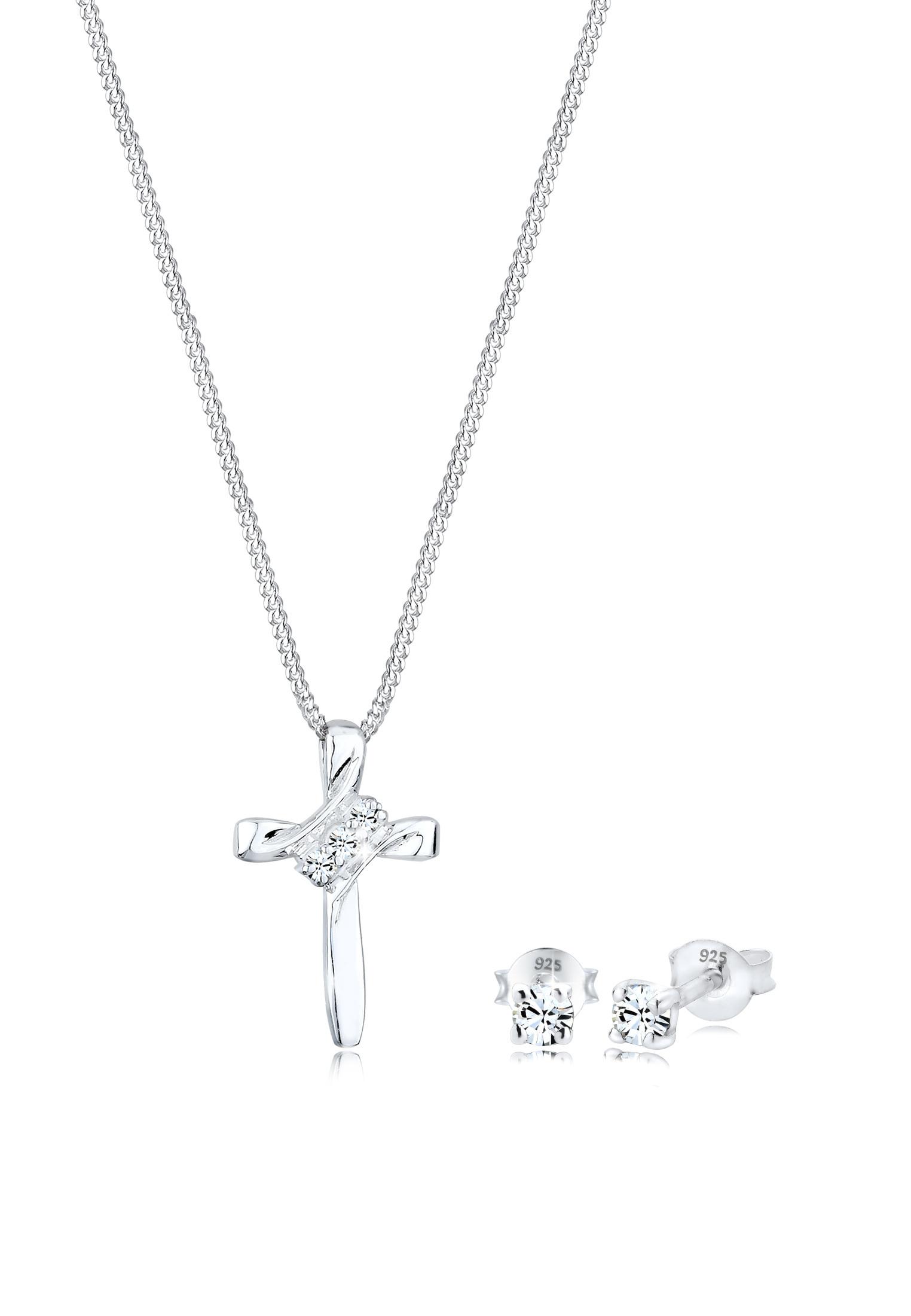 Schmuckset Kreuz   Kristall ( Weiß )   925er Sterling Silber