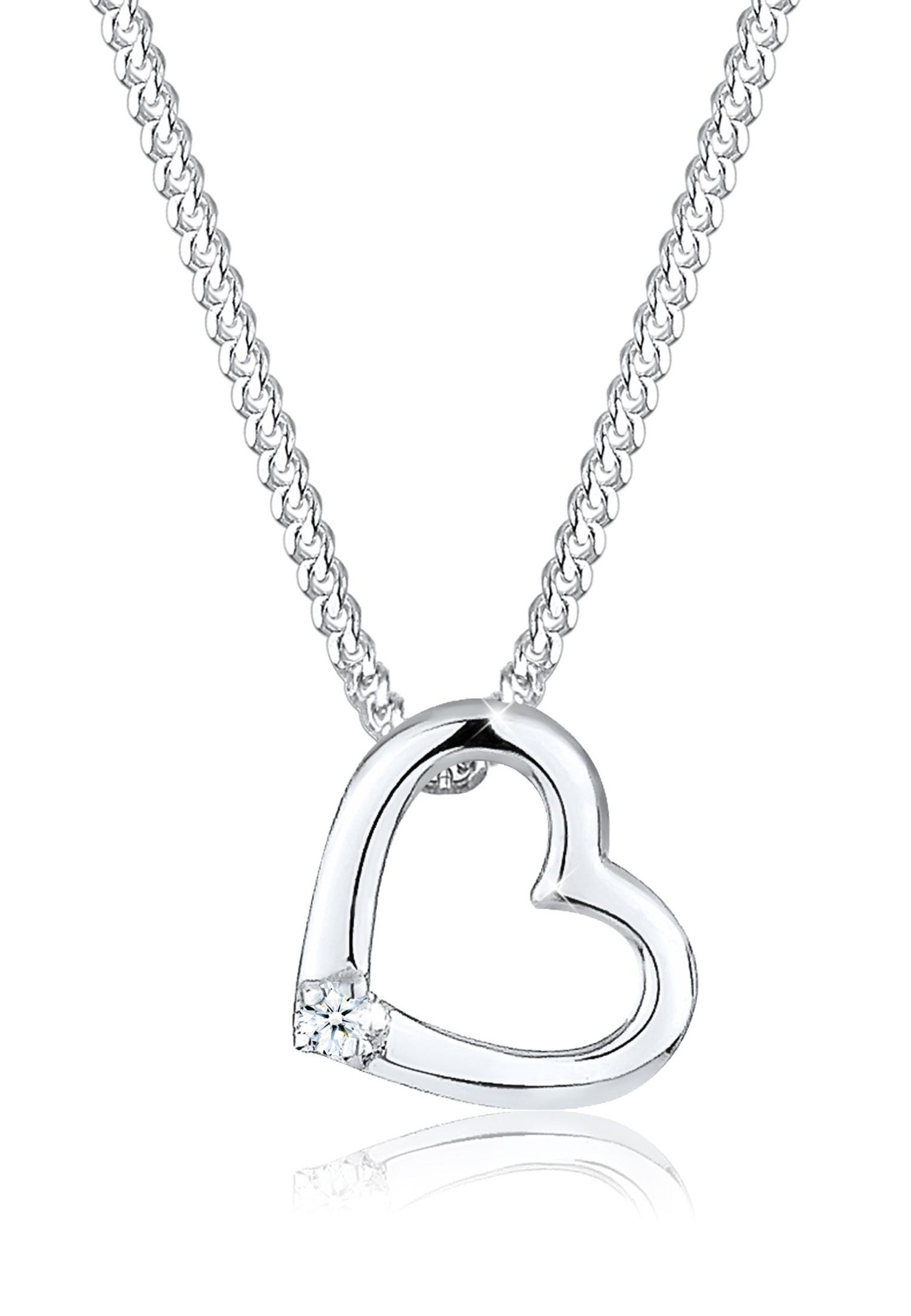 Halskette Herz   Diamant ( Weiß, 0,015 ct )   925er Sterling Silber