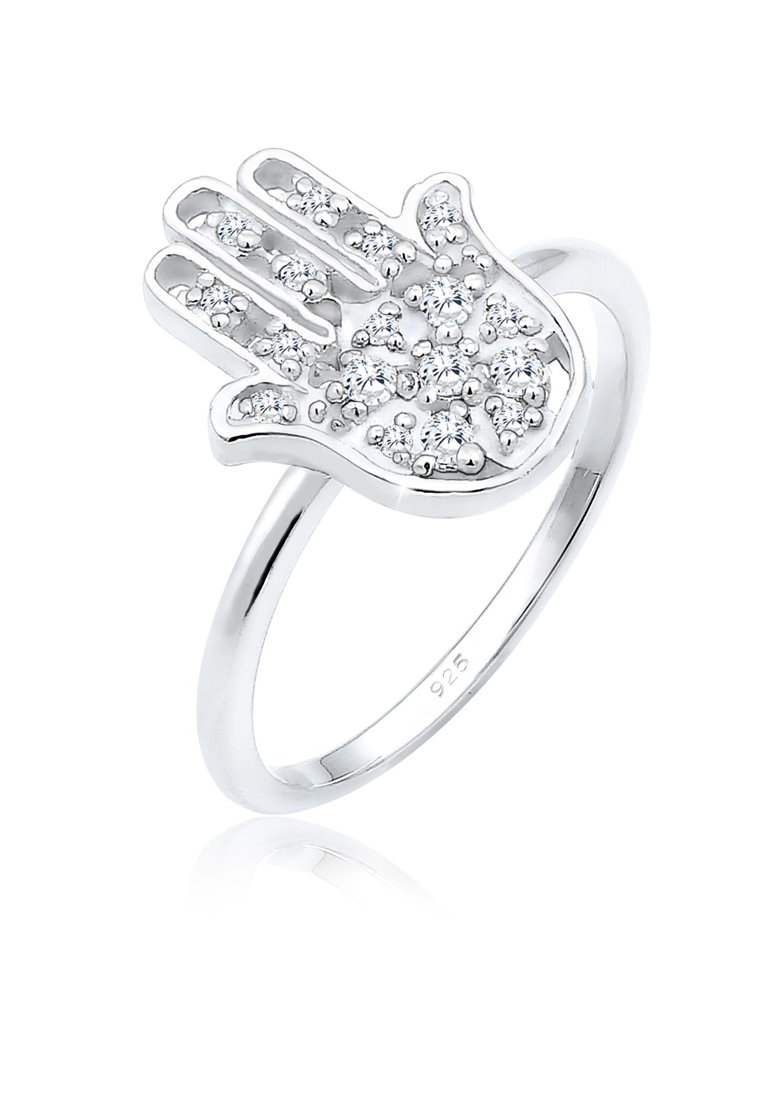 Ring Hamsa Hand | Zirkonia ( Weiß ) | 925er Sterling Silber