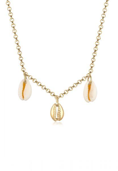 Elli Halskette Kauri Muschel Anhänger Maritim Sommer 925 Silber