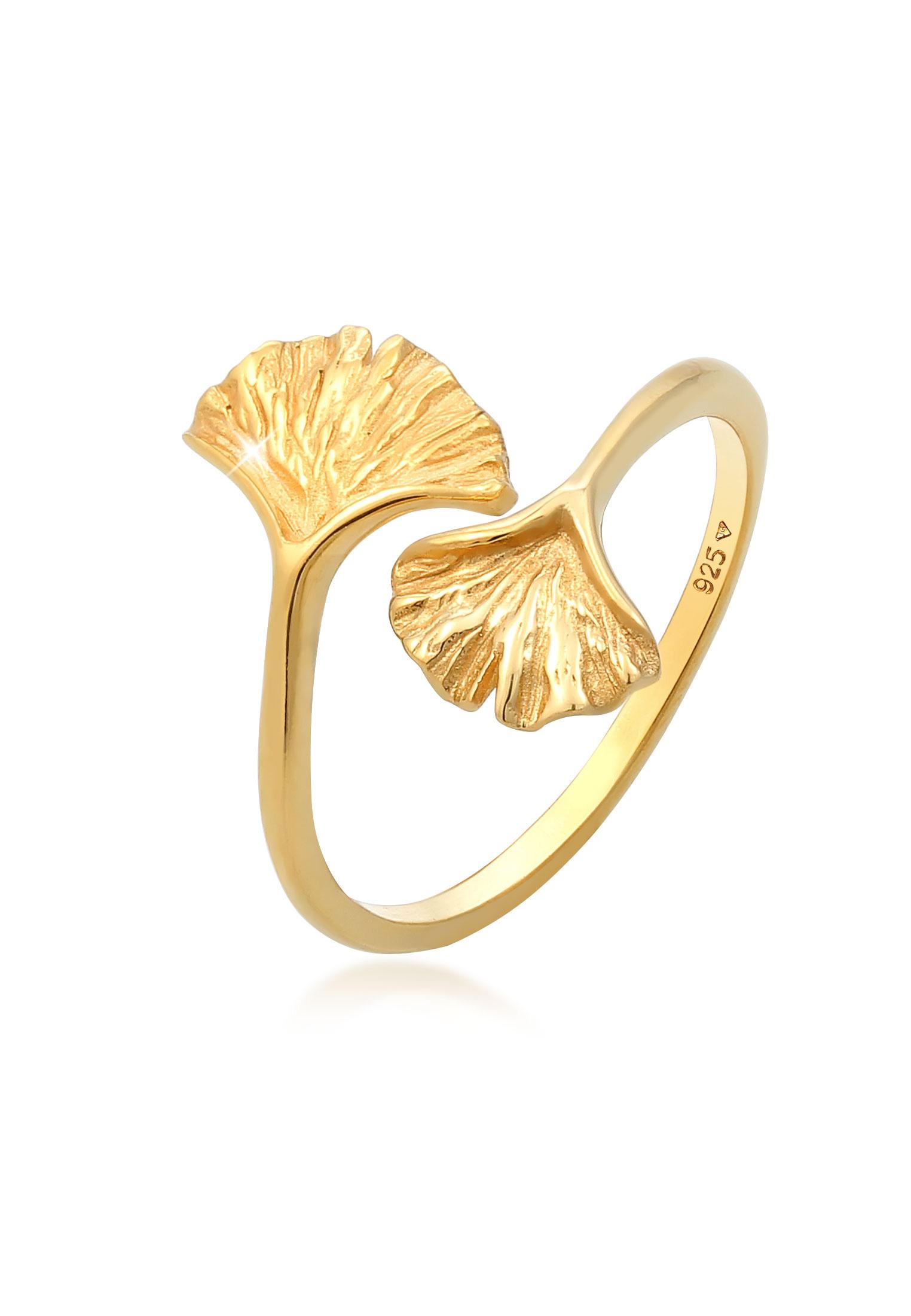 Ring Ginkgo   925 Sterling Silber vergoldet