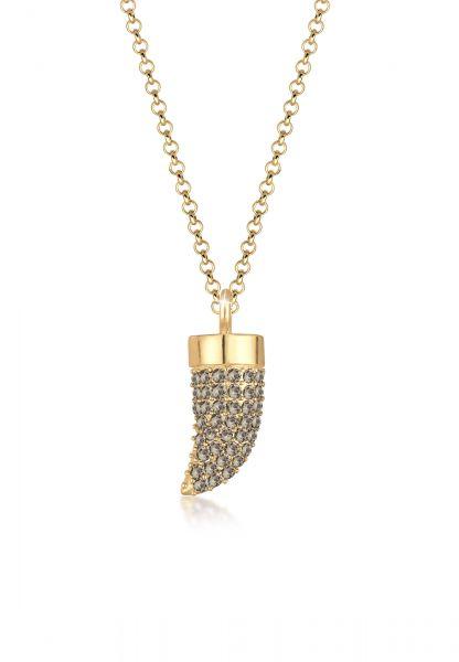 Halskette Zahn   Kristall ( Grau )   925 Sterling Silber vergoldet