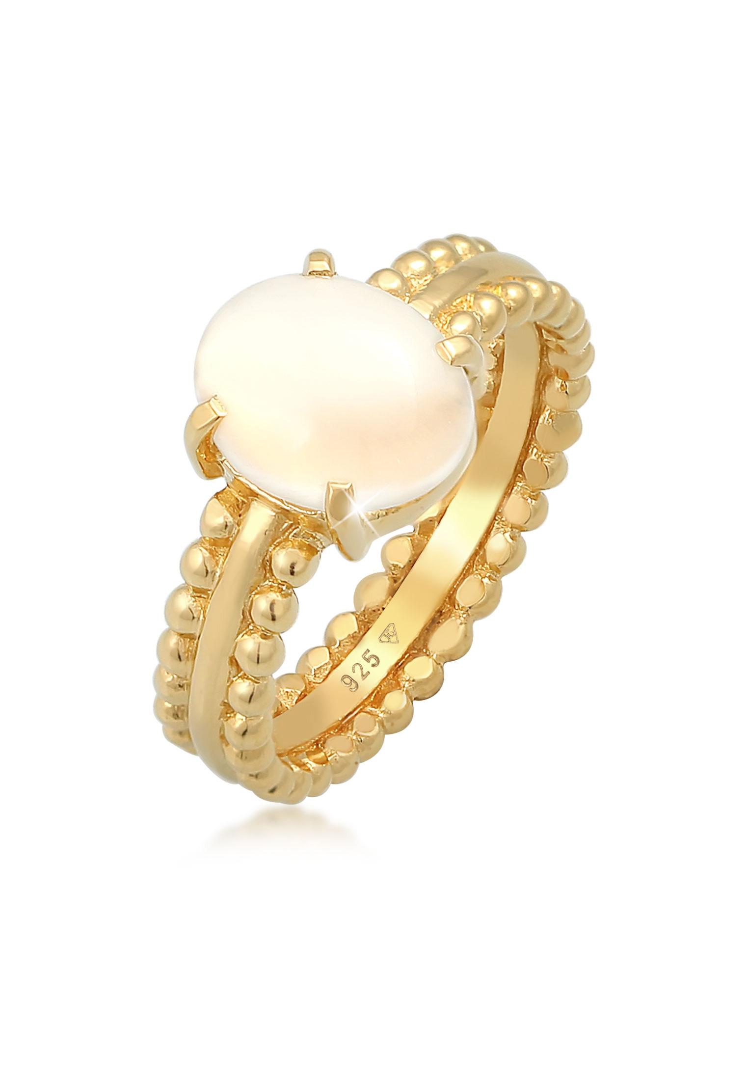Ring | Mondstein ( Weiß ) | 925 Sterling Silber vergoldet
