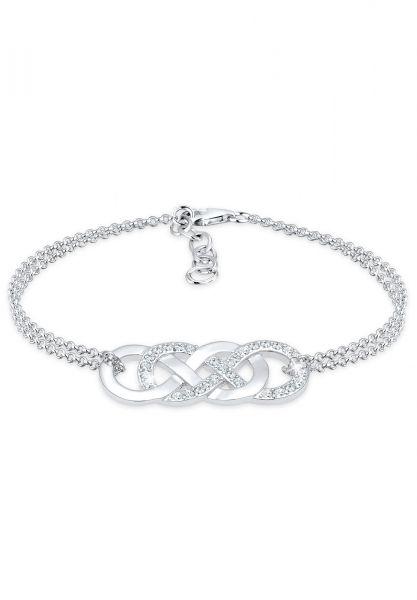 Armband Infinity   Kristall ( Weiß )   925er Sterling Silber