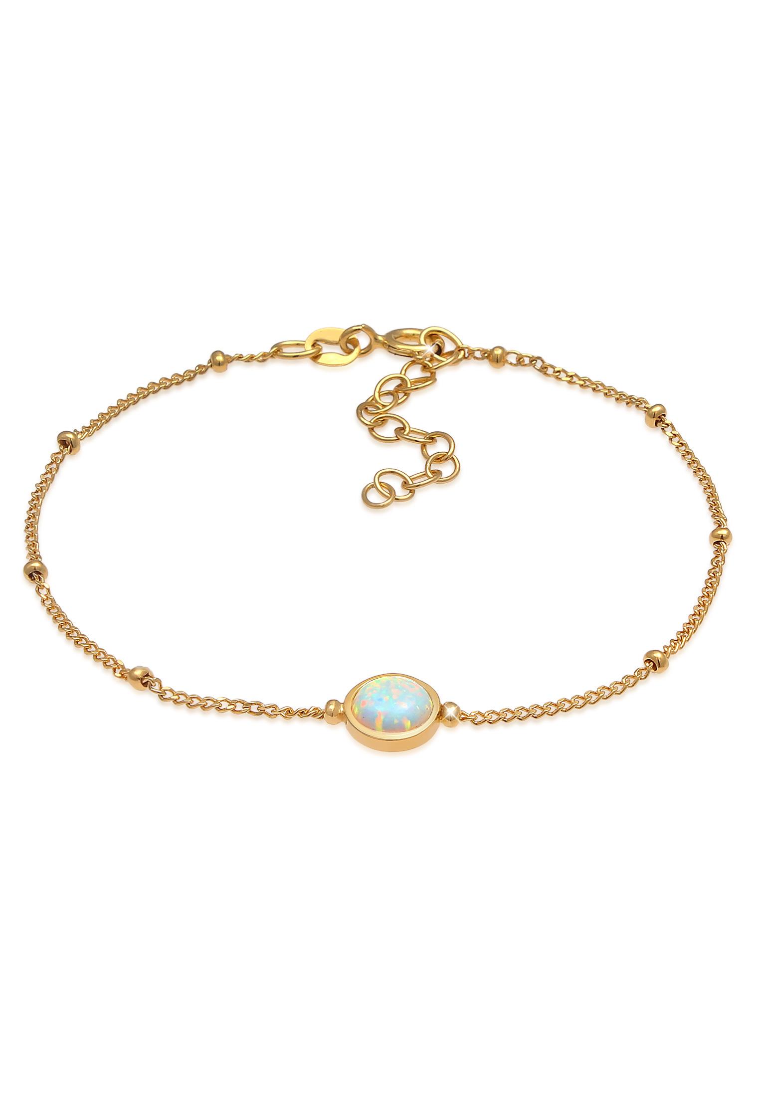 Kugel-Armband Kugel | Opal ( Weiß ) | 925 Sterling Silber vergoldet
