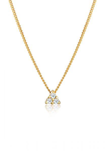 Halskette Dreieck | Diamant ( Weiß, 0,045 ct ) | 585 Gelbgold