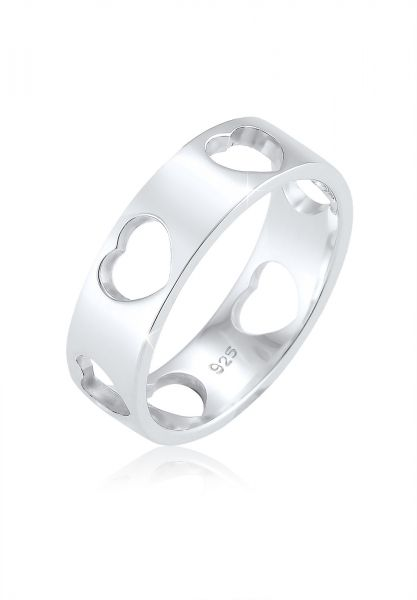 Elli Ring Herz Liebe Cut Out Bandring 925 Silber Loreena