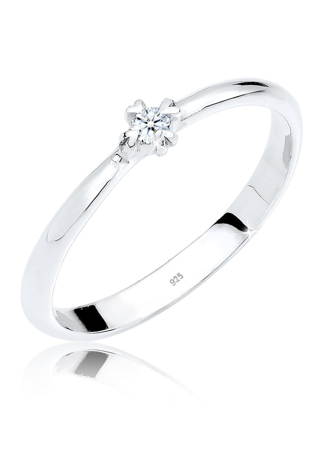 Verlobungsring Herz | Diamant ( Weiß, 0,03 ct ) | 925er Sterling Silber
